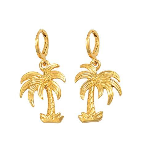 Pendientes de árbol de coco para mujeres, niñas, color dorado, plantas de moda, joyería, regalos para fiestas