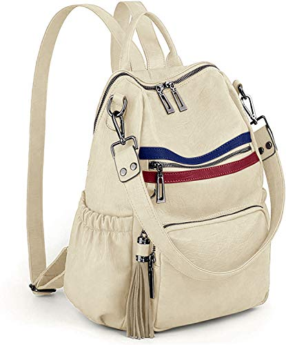UTO Women Backpack Purse PU Washed Leather Convertible Ladies Rucksack Tassel Zipper Pocket Shoulder Bag Beige