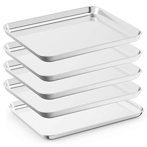 Bastwe Baking Sheet Set of 5, Stainless Steel 5-Piece Cookie Sheet, Toaster Oven Baking Pan Set, Rectangle Size 16 x 12 x 1 inch, Healthy & Non Toxic, Mirror Finish & Rust Free, Dishwasher Safe
