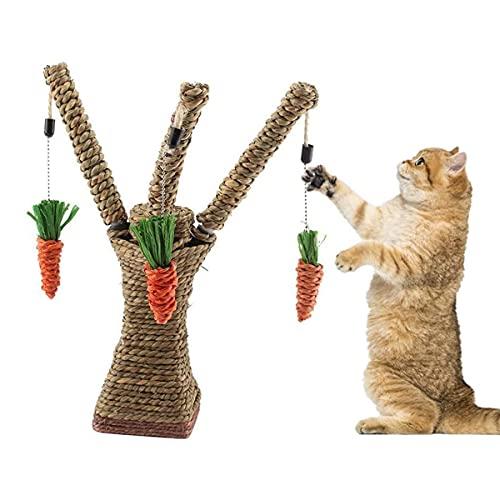QNMM Gato Mascota Árbol Trepador Juguete, Gato Ratán Hierba Rascador Conejito Divertido Árbol Conejo Juguete Pequeño Animal Escalada Centro De Actividades con Zanahoria para Gato Conejo Hámster