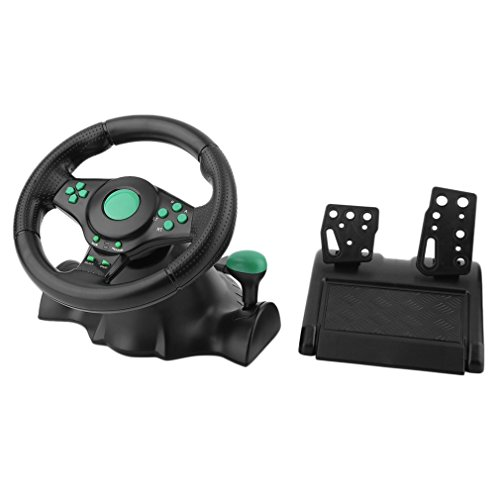 180 graden rotatie gaming vibratie racestuur met pedalen voor xbox 360 voor ps2 voor ps3 pc usb auto stuurwiel zwart en groen