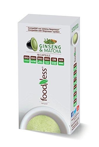 Foodness Capsula Caffè al Ginseng & Matcha compatibile Nespresso - 5 Confezioni da 10 Capsule [Tot. 50 Capsule]
