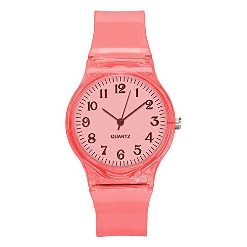 Accrie Mode Transparante Snoep Kleur Kunststof Band Casual Quartz Horloges, Armband, red