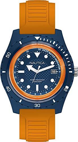 Nautica Herren Analog Quarz Uhr mit Gummi Armband NAPIBZ004