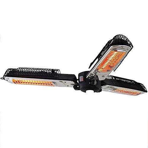 HXCD Riscaldatore Elettrico per ombrellone da Giardino, riscaldatore Elettrico a infrarossi Pieghevole per Esterni con 3 Pannelli riscaldanti 650/1300