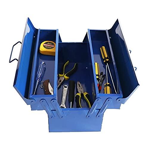 Organizador de caja de herramientas Caja de almacenamiento de metal de caja de herramientas pequeña con bandejas plegables de 3 capas Reparación portátil Hardware electricista Organizador de hogares A