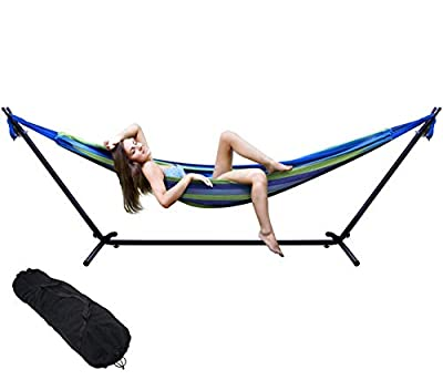 Hammock with Stand, Premium Cotton Hammock with Space Saving Steel Stand, Patio, Tree, Outdoor Hammock Portable Carrying Bag Included (Oasis Blue)