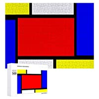 INOV モンドリアンパターンスタイル ジグソーパズル 木製パズル 500ピース 38 x 52cm 人気 パズル 大人、子供向け 教育玩具 ストレス解消 ギフト プレゼントpuzzle