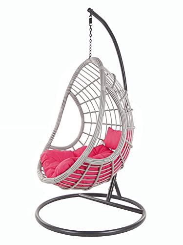 KIDEO PALMANOVA großer Hängesessel inklusive Gestell und Kissen, Polyrattan, grau (Kissen: Chesterstepp pink [3333 hotpink])