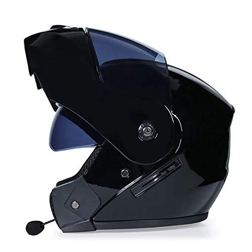 Casco de Moto Modular con Bluetooth Integrado,Casco Moto Integral ECE Homologado con Doble Visera Casco de Moto de Carreras Moto Abatible Casco Integral para Mujer Hombre Adultos I,S