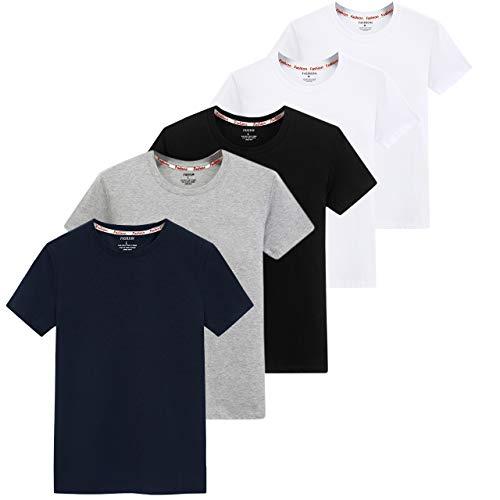 インナーシャツ メンズ 5枚組 綿100% 抗菌防臭加工 半袖クルーネック Tシャツ やわらか肌着 白 黒 紺 (ミックスカラー, 3XL=日本XL)