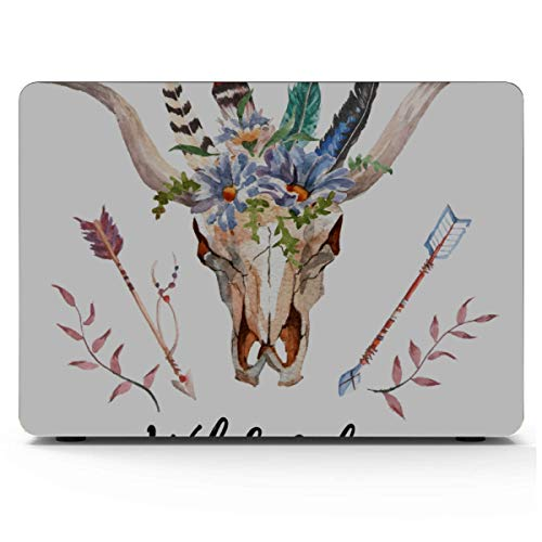 Mac 15 Inch Case Bull Head With Flowers And Feathers Macbook Air Accessories Hard Shell Mac Air 11'/13' Pro 13'/15'/16' With Notebook Sleeve Bag For Macbook 2008-2020 Version