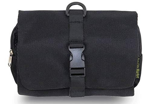 吊るせる トラベルポーチ 使いやすい 着脱式 ベルトに固定できる 化粧ポーチ 吊り下げ バッグインバッグ 出張 海外 旅行 育児 (黒)