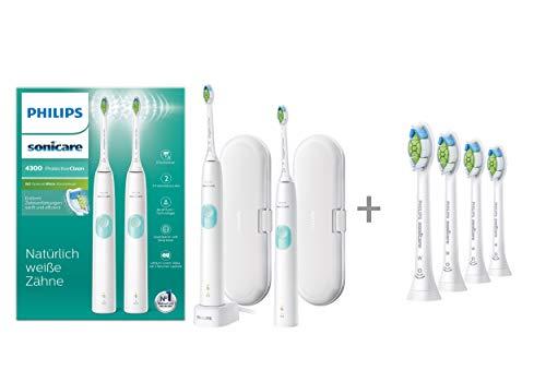 Philips Sonicare Protective Clean 4300 Elektrische Zahnbürste mit Schalltechnologie Doppelpack HX6807/35 & Optimal White - Aufsteckbürsten 4 Stück (Minimalverpackung)