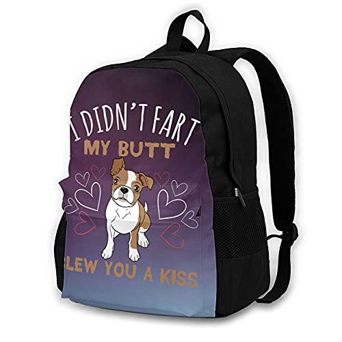 OYQGEJGPJA I Didnt Fart My Butt Blew You A Kiss Pug Novelty Adult Backpack Shoulder Bag for School