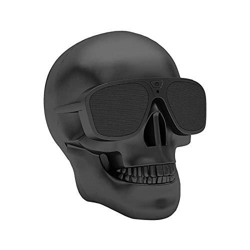 Huachaoxiang Schädel Lautsprecher Skull Shape, Rock Music Element Drahtloser Bluetooth Stereo Tragbare Speaker Für Ios Android Smartphone Tablet PC Computer Netbook,Schwarz