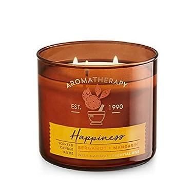 Bath & Body Works Aromatherapy Scented Candle   HAPPINESS  - Bergamot + Mandarin