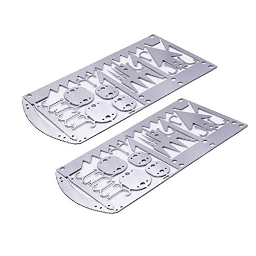 Buspoll survival card 22 in 1 fishing gear hook card,Outdoor camping supplies multifunctional fishing survival kit,hunting trips tools(2 pack)
