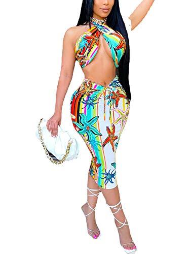 Ekaliy Sexy Two Piece Wrap Skirt Outfits for Women Summer 2 Piece Halter Top Dress Beach Ruffle Crop Tops Drawstring Maxi Skirt Set Starfish Print M