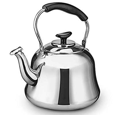 2 Liter Whistling Tea Kettle, ENLOY Stainless Steel Stovetop Teakettle Teapot, Bakelite Insulated Handle, Mirror Finish