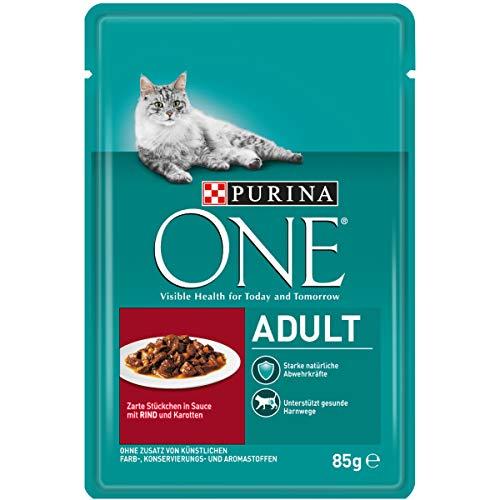 PURINA ONE Adult Katzenfutter nass, zarte Stückchen in Sauce mit Rind, 24er Pack (24 x 85g)
