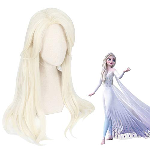 Frozen II Cosplay Light Light Wig 25.59in Elsa Anime Dress Up Hair Syntheth Halloween Masquerade Crazy Fiesta Fancy Game Pigtail Pelucas con Peluca Libre Net Gorra