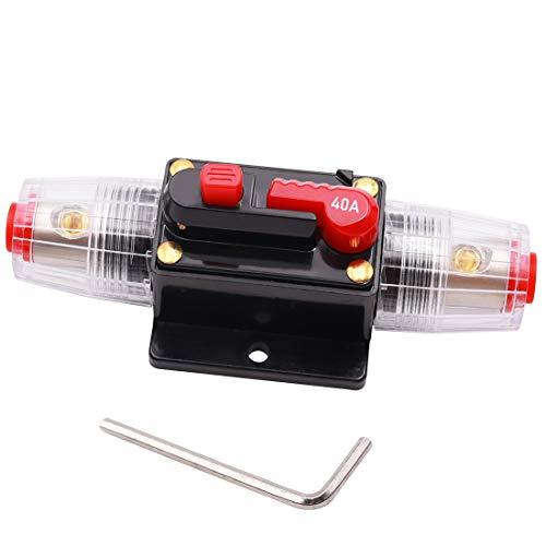 Tnisesm Interruptor de potencia en línea de audio para coche, 40 A, reinicie manual, 12 V-24 V CC, con llave pequeña para sistema de audio del coche, protección Z-40A