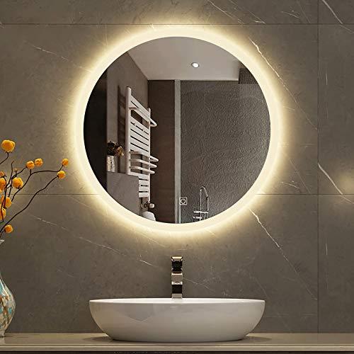 GETZ 600x600 Mm Espejo de Baño LED Redondo, Sensor Táctil de Luz de Espejo de Baño LED Iluminado con Antivaho Espejo de Afeitar de Maquillaje Redondo Montado en la Pared, Sin Borde