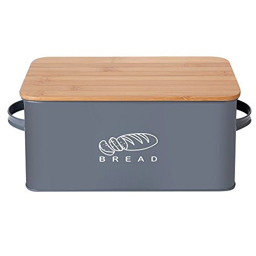 G.a HOMEFAVOR Kitchen Bread Bin Bread Storage Container Bread Crock with Bamboo Lid, 30 * 16.5 * 15cm