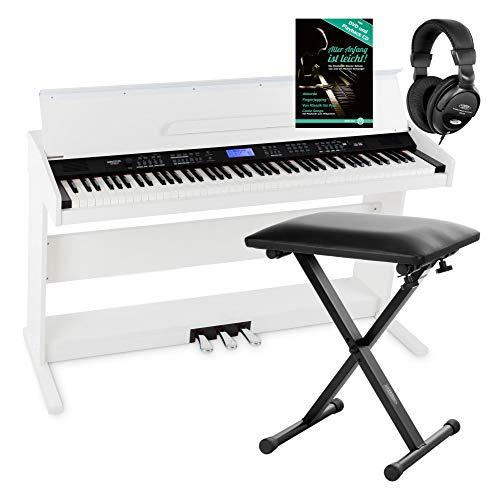 FunKey DP-88 II Digitalpiano Set (88 anschlagsdynamische Tasten, 360 Sounds, 160 Styles, MP3-Player, inkl. Keyboardbank, Kopfhörer und Klavierschule) weiß
