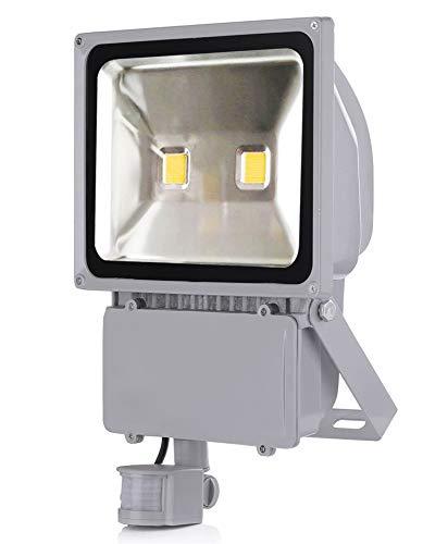 Leetop 100W LED Spotlight Projecteur Spot + Capteur de mouvement Froid Blanc Projecteur LED Projecteur Flood Light Spotlight Projecteur intérieur Projecteur extérieur Imperméable IP65