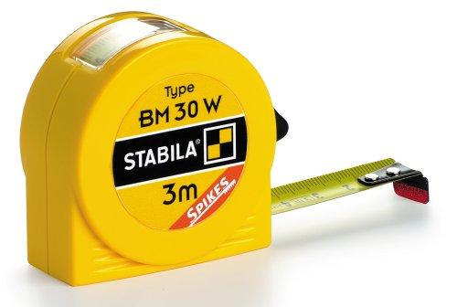 STABILA Taschenbandmaß BM 30 W, 3 m, mit Innenmaß-Anzeige und Spikes-Haken