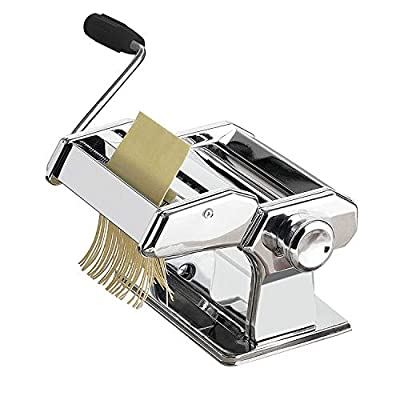 QQO Manual Pasta Makers, All in One 7 Thickness Settings Stainless Steel Manual Roller Pasta Maker for Homemade Spaghetti Linguine Fettuccine Lasagne
