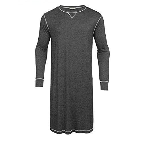 pigiama uomo vestaglia Geagodelia Pigiama Uomo Tinta Unita Camicia da Notte Uomo Girocollo Manica Lunga Stile Casual S-3XL (Grigio