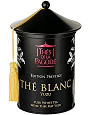 Thés de la Pagode - Té Blanco Orgánico con Yuzu - Edición de prestigio - Té Bai Mu Dan Orgánico con Cáscara de Naranja Orgánica - Caja de Metal Pagoda Fresca - 100 Gramos