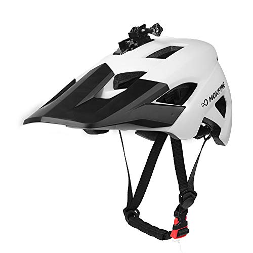 MOKFIRE Mountain Bike Helmet - Detachable Super Long Sun Visor with USB Safety Light & Camera Mount for MTB Adult Cycling Bicycle Helmet for Women and Men - Size (22.44-24.01 Inches) -White