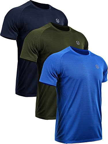Neleus Men's 3 Pack Mesh Athletic Running Sport Shirts,5033,Navy Blue,Blue,Olive Green,M,EU L