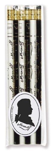 Crayons à papier avec gomme - Inscription Mozart - Lot de 6 - Cadeau musique