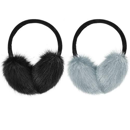 MADHOLLY 2 Pack Faux Fur Earmuffs Big Winter Outdoor Soft Warm Thick Faux Fur Ear Warmers for Womens Men BlackampGrey