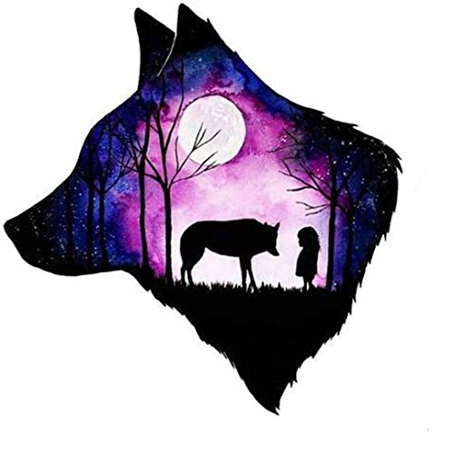 5d Diamond Painting Kits for Adults Kids, Full Drill Diamond for Home Wall Decor Wolf & Child 11.8x11.8inch
