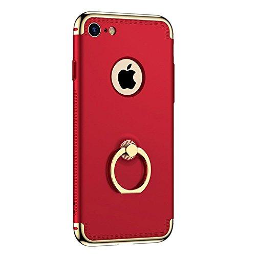 Cubierta de costura de tres segmentos para PC para iPhone 7 con cubierta antideslizante con soporte de anillo (Color: Rojo)