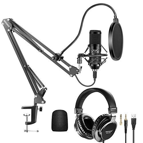 microfono pc neewer nw 8000 Neewer Kit Microfono a USB 25mm Capsula Grande 192KHz/24Bit Plug & Play a Condensatore (Nero) con Cuffie Monitor