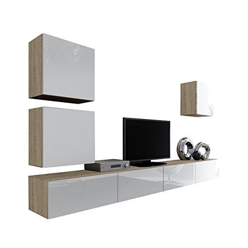 Wohnwand Vigo XXII, Design Mediawand, Modernes Wohnzimmer Set, Anbauwand, Hängeschrank TV Lowboard, (Eiche Sonoma/Weiß Hochglanz)