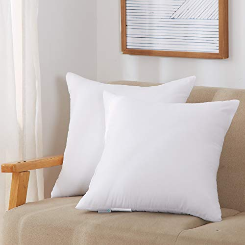 Acanva Throw Pillow Inserts Soft Couch Stuffer Hypoallergenic Polyester Square Form Washable Cushion Euro Sham Filler, 18-2P, White, 2 Count