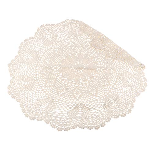Fenteer Dentelle Art de Crochet Floral Vintage Tapis Sous-verre Beige - Diamètre 23,62 Pouces