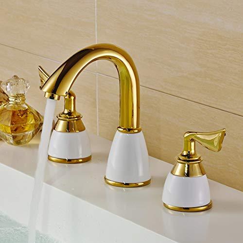 Rubinetti perlavabo Rubinetto per lavabo da bagno inottone lucido oro lucidoDoppio manico Rubinetti per lavabo da appoggio a 3 fori
