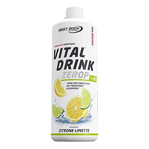 Best Body Nutrition Vital Drink ZEROP® - Zitrone-Limette, Original Getränkekonzentrat Sirup zuckerfrei, 1:80 ergibt 80 Liter Fertiggetränk, 1000 ml