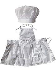 Kaxofang Juego De Delantal Para Bebé Infantil Accesorios De Fotografía, Traje De Uniforme De Bebé Unisex Cocinero Trajes Accesorios De La Foto Blanco