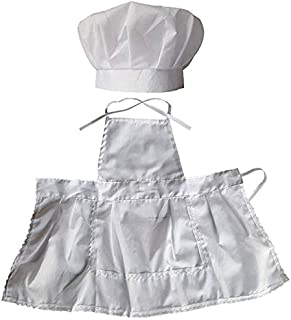 SODIAL Infant Baby Chef Apron Set Photography Props, Chef Unisex Baby Uniform Costume Photo Props Outfits White