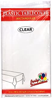 بارتي دايمنشنز بلاستيك مستطيل 137.16 سم × 274.32 سم   شفاف   غطاء طاولة قطعة واحدة